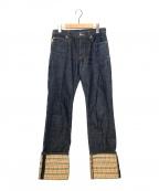BURBERRY BLUE LABEL()の古着「ノヴァチェック切替デニムパンツ」|インディゴ