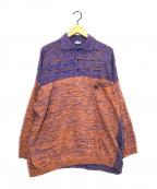 LOEWE()の古着「メランジロゴロングスリーブポロシャツ」|パープル×オレンジ