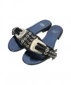 TOGA PULLA(トーガプルラ)の古着「アイレットスタッズフラットサンダル」 ブラック×ブルー