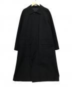 MARGARET HOWELL(マーガレットハウエル)の古着「ウールコットンギャバジンステンカラーコート」 ブラック