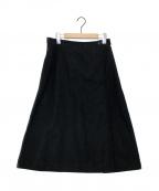 MARGARET HOWELL(マーガレットハウエル)の古着「リネンブレンドフレアスカート」 ブラック