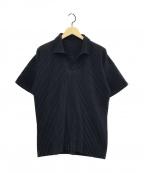 HOMME PLISSE ISSEY MIYAKE(オムプリッセイッセイミヤケ)の古着「S/Sプリーツポロシャツ」 ネイビー