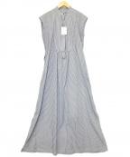 LA MARINE FRANCAISE(マリンフランセーズ)の古着「タイプライターetロンストロングシャツワンピース」|ホワイト×ブルー
