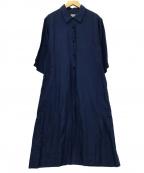 MARGARET HOWELL(マーガレットハウエル)の古着「リネンシャツワンピース」 ブルー