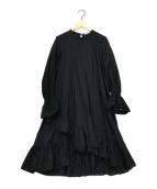 ()の古着「ポプリンヘムクロスドレス」|ブラック