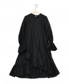 ne quittez pas(ヌキテパ)の古着「ポプリンヘムクロスドレス」 ブラック