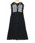 ()の古着「刺繍デザインブラウスワンピース」 ブラック