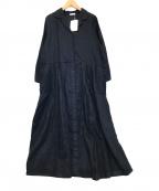 fog linen work(フォグリネンワーク)の古着「リネンシャツワンピース」 ネイビー