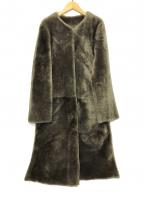 MOGA(モガ)の古着「ノーカラームートンコート」|グレージュ