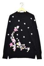 LEONARD SPORT()の古着「花刺繍ニット」|ブラック
