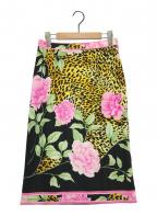 LEONARD(レオナール)の古着「総柄スカート」 ピンク×ブラック