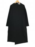 ENFOLD(エンフォルド)の古着「ダブルスポンジクロスコクーンワンピース」|ブラック