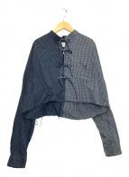 ()の古着「リメイクチェックブラウス」|ブルー