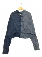 77circa × CITYSHOP(ナナナナサーカ×シティショップ)の古着「リメイクチェックブラウス」|ブルー