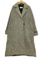 MaxMara(マックスマーラ)の古着「ヘリンボーンウールコート」 ホワイト×ブラック