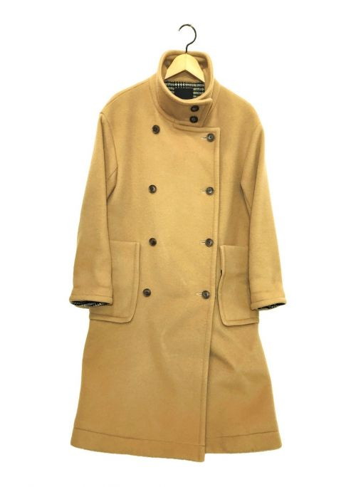 Denham(デンハム)Denham (デンハム) スタンドチェックウールコート ベージュ サイズ:36の古着・服飾アイテム