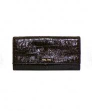 MIU MIU(ミュウミュウ)の古着「クロコ風型押し長財布」|ブラウン