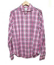 Finamore(フィナモレ)の古着「ドレスシャツ」|ピンク×ブラック