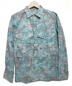 SUN/kakke(サンカッケー)の古着「デジカモシャツ」|グリーン