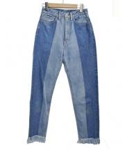 LI HUA(リーファー)の古着「2トーンフリンジデニムパンツ カットオフ」 ブルー