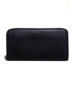 PRADA(プラダ)の古着「ラウンドファスナー財布 サフィアーノ」|ブラック
