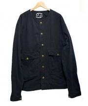 SIXTY-NINE(シックスティーナイン)の古着「ビッグシルエットノーカラージャケット」|ブラック