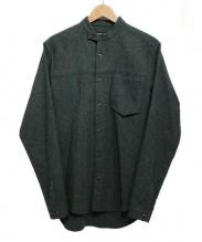FRANK LEDER(フランクリーダー)の古着「ウールバンドカラーシャツ」|オリーブ