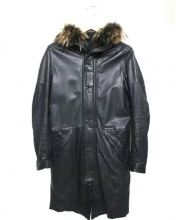 CAMIERA(カミエラ)の古着「レザーモッズコート」|ブラック