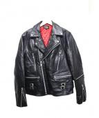 HORN WORKS(ホーンワークス)の古着「カウレザーライダースジャケット」|ブラック