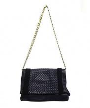CLARAMONTE(クララモンテ)の古着「チェーンショルダーレザーバッグ」 ブラック
