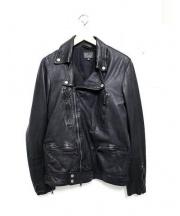 BLUE WORK(ブルーワーク)の古着「ラムレザーダブルライダースジャケット」|ブラック