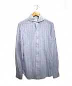 Finamore(フィナモレ)の古着「ホリゾンタルカラーリネンシャツ」 ライトブルー