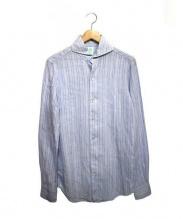 Finamore(フィナモレ)の古着「ホリゾンタルカラーリネンシャツ」|ライトブルー
