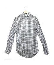 finamore(フィナモレ)の古着「ホリゾンタルカラーリネンシャツ」|グリーン