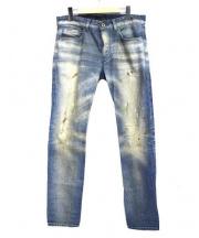 DIESEL BLACK GOLD(ディーゼル ブラック ゴールド)の古着「ダーティ加工デニムパンツ」|ブルー