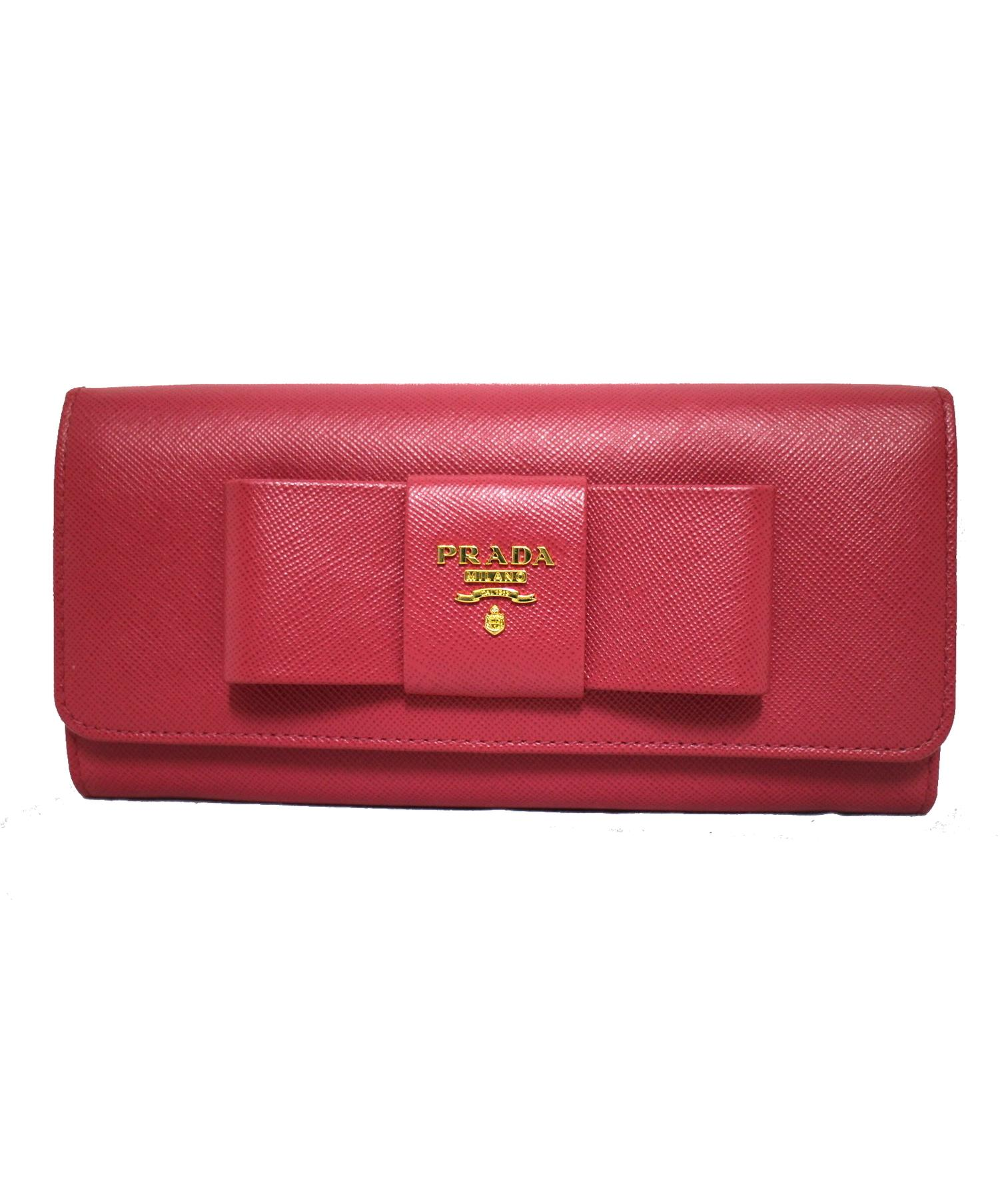 new styles ac915 96e3b [中古]PRADA(プラダ)のレディース 服飾小物 リボンフラップ長財布
