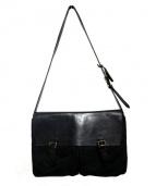 Felisi(フェリージ)の古着「レザーナイロンショルダーバッグ」|ブラック