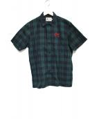 Hysteric Glamour(ヒステリックグラマー)の古着「ROCK IT刺繍 半袖OCシャツ シャツ トップス」|グリーン