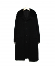 yohji yamamoto+Noir(ヨウジヤマモトプリュスノアール)の古着「ミンクファー付カシミヤ混バルマカーンコート」|ブラック