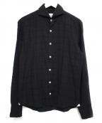 giannetto(ジャンネット)の古着「ホリゾンタルカラーシャツ トップス」|ブラウン