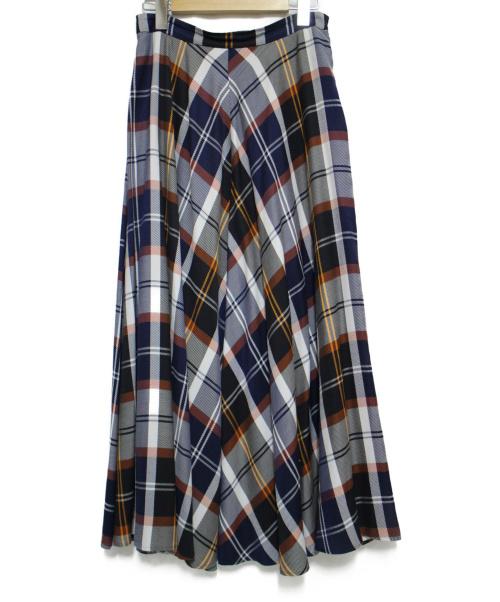 Noble(ノーブル)Noble (ノーブル) マドラスチェックフレアロングスカート スカート サイズ:38の古着・服飾アイテム
