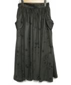 Hysteric Glamour(ヒステリックグラマー)の古着「TATOO PATTERN総柄 ギャザースカート スカート」|オリーブ