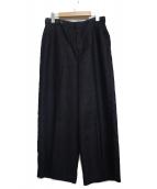 HUMAN WOMAN(ヒューマンウーマン)の古着「リネン混ワイドパンツ」|ネイビー