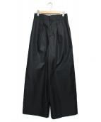 Lois CRAYON(ロイスクレヨン)の古着「ワイドタックパンツ パンツ」|ブラック