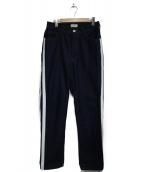STUDIO SEVEN(スタジオ セブン)の古着「Leather Line Denim パンツ」|ブルー
