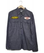 THE FLAT HEAD(ザフラットヘッド)の古着「ワッペンシャツ」|ブルー