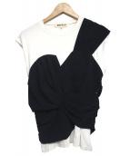 ENFOLD(エンフォルド)の古着「デザインカットソー」|ホワイト×ネイビー