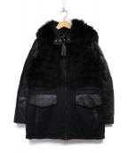 Kemit(ケミット)の古着「レザー切替ダウンコート コート」|ブラック