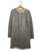 DES PRES(デプレ)の古着「ノーカラームートンコート」|グレー