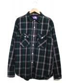 THE NORTHFACE PURPLELABEL(ザノースフェイスパープルレーベル)の古着「Twill Check Field Shirt」|ネイビー×グリーン